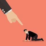 Boze werkgever die klagend aan wanhopige zakenman zijn Stock Afbeelding