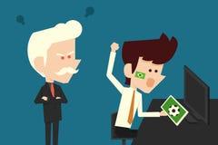 Boze werkgever en het miskleunen van zakenman Stock Afbeelding