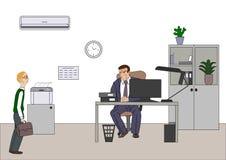 Boze werkgever met werknemer De directeur maakt zich over slecht resultaten en en punt ongerust bij diagram bij flipchart in het  royalty-vrije illustratie