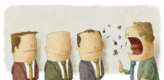 Boze werkgever met werknemers Stock Afbeeldingen