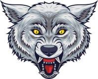Boze wolfs hoofdmascotte met open mond stock illustratie