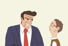 Boze zakenman die zijn collega aanvallen Mobbing, die op het werk intimideren stock illustratie