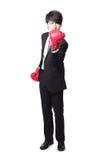 Boze zakenman met bokshandschoenen Stock Foto's