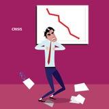 Boze zakenman met negatieve grafiek Royalty-vrije Stock Afbeeldingen