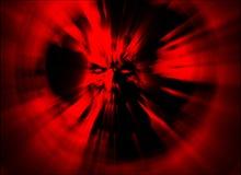 Boze zombie hoofd rode dekking Illustratie in genre van verschrikking stock illustratie