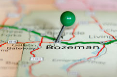 Bozeman city pin. On the map Stock Photo