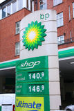 BP gas station prices. LONDON - MAY 14: BP gas station prices on May 14, 2012 in London. Oil based fuel prices have recently dropped, but still are near their royalty free stock image