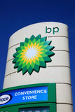 BP petrol station sign. Portsmouth, United Kingdom, Apr 22, 2011 : A BP petrol station sign in the city of Portsmouth showing its company logo stock images