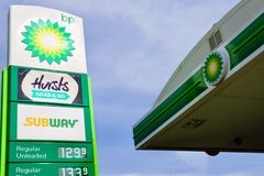 BP petrol station royalty free stock images