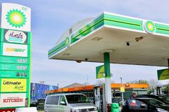 BP petrol station stock images