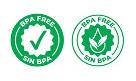 BPA自由传染媒介绿色校验标志证明了象 安全食物包裹邮票,健康罪孽BPA,西班牙封印邮票 向量例证