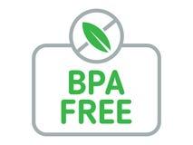 BPA释放徽章传染媒介 Bisphenol产品的一个自由标签 在白色隔绝的平的例证 免版税库存图片