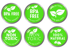 BPA libèrent le label non-toxique d'icône Image stock