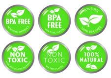 BPA livram a etiqueta não-tóxica do ícone Imagem de Stock