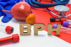 BPH concept of benign prostatic hypertrophy is enlargement of prostate gland. Medical abbreviation BPH is surrounded by models of stock photo