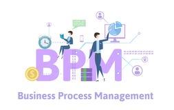 BPM, επιχειρησιακή διαχείριση διαδικασιών Πίνακας έννοιας με τις λέξεις κλειδιά, τις επιστολές και τα εικονίδια Χρωματισμένη επίπ Στοκ Εικόνες