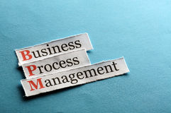 Bpm abbreviation. BPM business process management on blue paper Royalty Free Stock Image