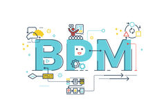 BPM : Business Process Management word. Lettering typography design illustration with line icons and ornaments in blue theme Stock Photo