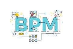 BPM: Het woord van het bedrijfsprocesbeheer Stock Foto