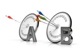 A-/Bprüfung oder Spalten-Test, der eine Webseite optimiert, um Betrug zu erhöhen Lizenzfreies Stockfoto