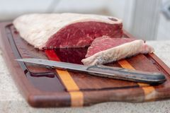 Bqq cru et viande de graisse de sel images stock