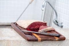 Bqq cru et viande de graisse de sel photographie stock libre de droits