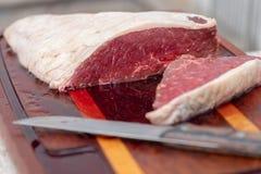Bqq ruw en zout vet vlees stock afbeelding