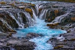 Brúarfoss vattenfall, Island Arkivbilder