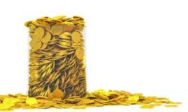 Bräddfulla guld- mynt Arkivfoton