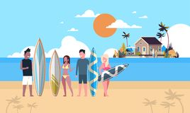 Bräde för bränning för grupp för folk för semester för surfarelagsommar på lägenhet för ö för hus för solnedgångstrandvilla tropi vektor illustrationer