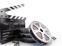 Bräde för filmrullar och Clapper Arkivbilder
