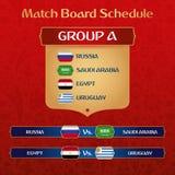 Bräde för fotbollturneringmatch med den ryska etniska garneringvektorillustrationen royaltyfri illustrationer