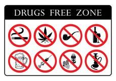 Bräde för fri zon för droger royaltyfri illustrationer