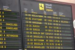 Bräde för information om flygavvikelse på flygplatsen arkivbild