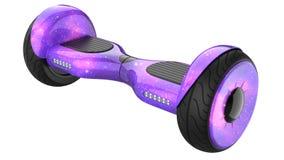 Bräde för kosmoslilasvävande, slut upp av dubbelhjulsjälven som balanserar den elektriska skateboarden Smart Mini Scooterl framfö Arkivfoton