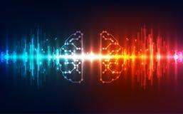 Bräde för strömkrets för mänsklig hjärna för vektor abstrakt futuristiskt, hög digital teknologi för illustration royaltyfri illustrationer