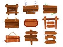 Bräde för tecken för tom tappningtecknad film wood eller västra ren skylt Gamla lantliga pilar vägvisare, kryssfaneraffischtavla  royaltyfri illustrationer