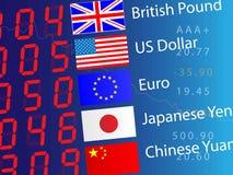 Bräde för valutautbyte, closeup vektor illustrationer