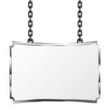 Bräde i en metallram som hänger på kedjor Silverskylt Isolerad vektorillustration Royaltyfria Bilder