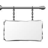 Bräde i en metallram som hänger på kedjor Silverskylt Isolerad vektorillustration Arkivfoto