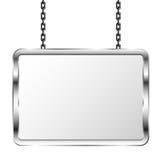 Bräde i en metallram som hänger på kedjor Silverskylt Isolerad vektorillustration Royaltyfri Bild