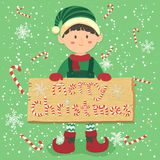 Brädegodis Cane Christmas Elf Boy Vector Royaltyfria Bilder