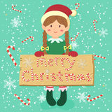 Brädegodis Cane Christmas Elf Braid Girl Royaltyfria Bilder