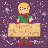 BrädegodisCane Christmas Elf Glasses Girl vektor Arkivfoton