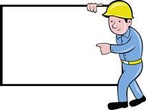brädekonstruktion som pekar den vita arbetaren Arkivbild