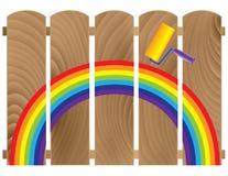 bräden fäktar den målade regnbågen Fotografering för Bildbyråer