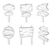 Bräden för klotterteckengata med wood textur Vektorn skissar illustrationisolaten på vit bakgrund royaltyfri illustrationer