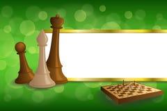 Brädet för abstrakt för grön guld för bakgrund figurerar det beigea för schack brunt för leken bandramillustrationen Arkivfoto