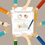 Brädet för den AGM diskuterar det årliga föreningsstämmaaktieägaren finansiell vinst för företagsgranskningen royaltyfri illustrationer