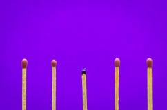 Bränd matchinställning på purpurfärgad bakgrund för idéer och inspirat Arkivfoto